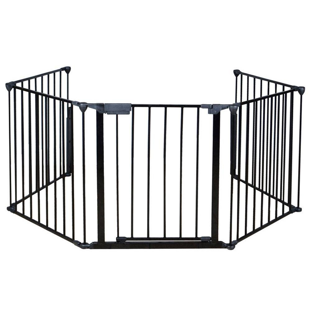 30 inches Heigh Fireplace Fence Baby Safety Fence Hearth Gate BBQ Metal Fire Gate Pet Dog Cat Christmas Tree Fence -Elegant Black Metal Gate