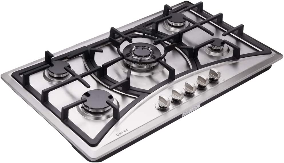 Deli-kit DK258-A07 34 inch Gas Cooktop gas hob stovetop 5 burners LPG/NG Dual Fuel 5 Sealed Burners Stainless Steel 5 Burner Built-In gas hob 110V AC pulse ignition gas stove