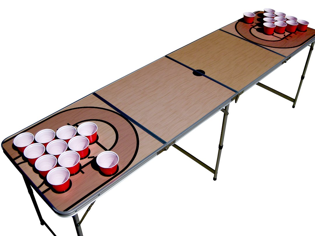 Basketball Court NBA Beer Pong Table with Predrilled Cup Holes by The Pong Squad