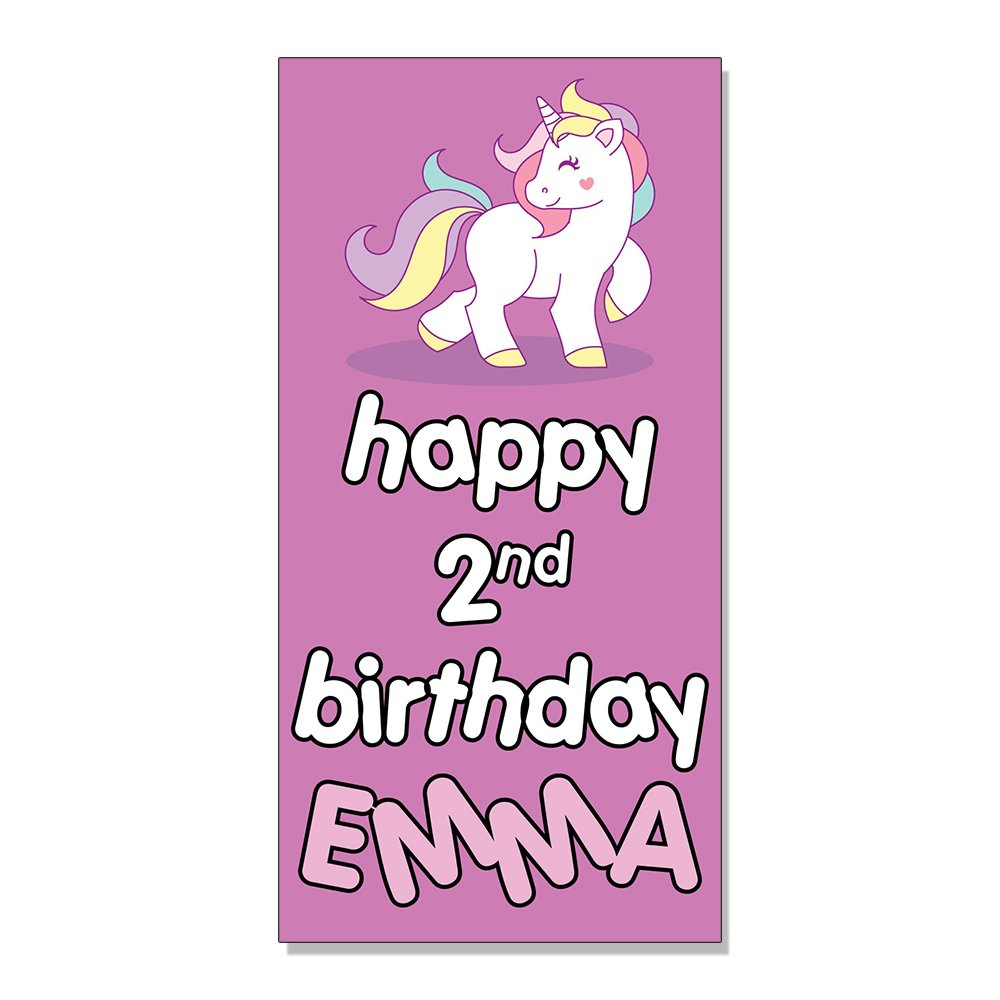 Amazon com happy 2nd birthday girl girly unicorns custom decal sticker retail store sign 19 5 x 48 inches office products
