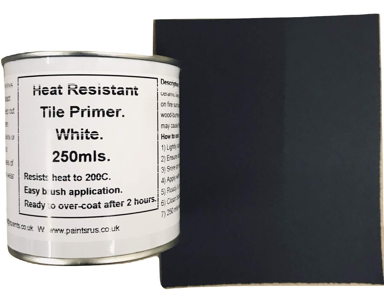 1 x 250ml Heat Resistant Primer + Wet & Dry. For Fireplace Surrounds, Tiles, Granite, Plastic Coated MDF Fascinating Finishes Ltd