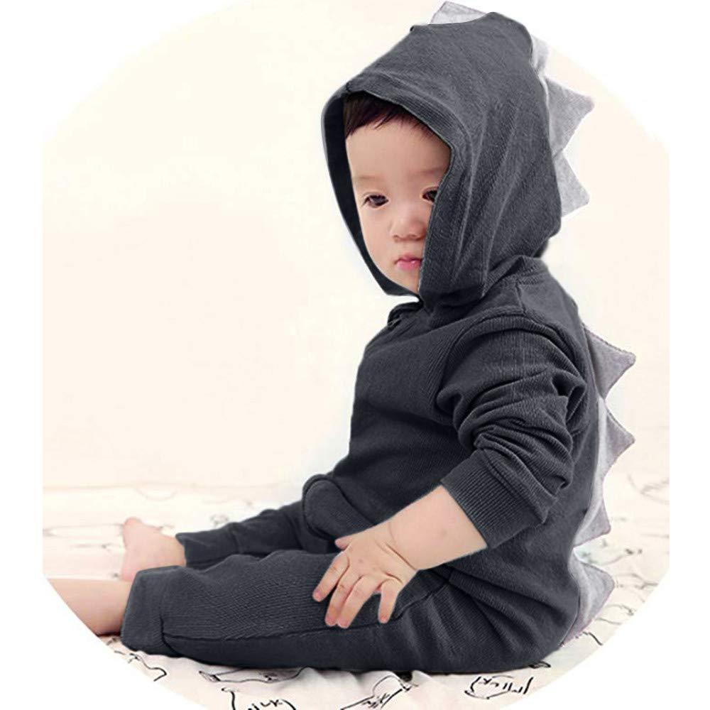 Matoen Toddler Baby Girls Boys Dinosaur Hoodie Romper Back Zipper Harness Jumpsuit