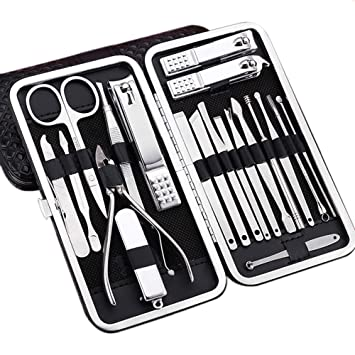 Juego de cortaúñas para manicura y pedicura, herramientas para hombres y mujeres, herramientas de acero inoxidable para el cuidado de uñas, 20 piezas ...