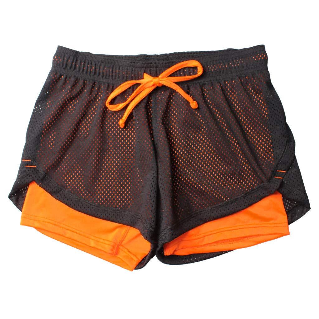 Dasongff 2 in 1 Damen Laufshorts Yoga Sport Shorts Atmungsaktiv Fitnessshose Outdoor Sporthose Traningshose Kurze Hose Fitness Running Workout Shorts