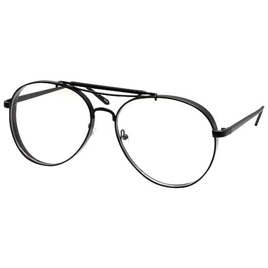 2e0eccb607 Large Aviator Clear Lens Glasses Mens or Womans Classic Non-Prescription  Black