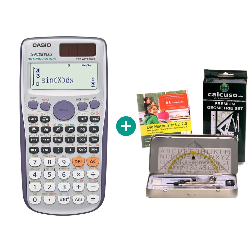 Casio FX-991DE Plus –  Calcolatrice scientifica con display naturale 6. Streberpaket Calcuso/Casio