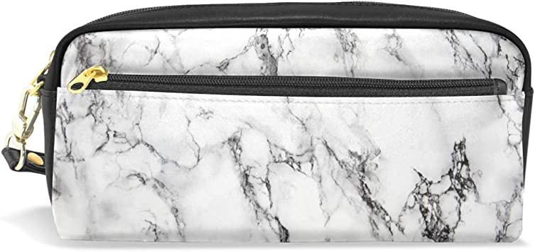 Amazon Com Cute Marble Pencil Case With Compartments For Grils Pen Pencil Bag Pouch Holder Organizer Large Long Leather Zipper Office Products