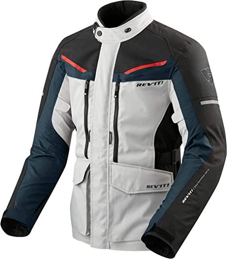 GIACCA MOTO TOURING SAFARI 3 ARGENTO BLU REVIT TG L: Amazon