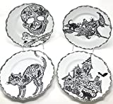 222 Fifth Halloween Wiccan Lace Salad Accent Plates Black & White Porcelain, Set of 4