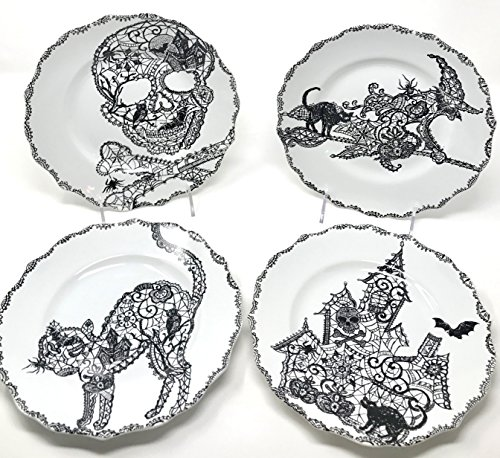 222 Fifth Halloween Wiccan Lace Salad Accent Plates 8.5 Black & White Porcelain, Set of 4 Designs: Cat, Haunted House, Skull, Witch By 222 Fifth ()