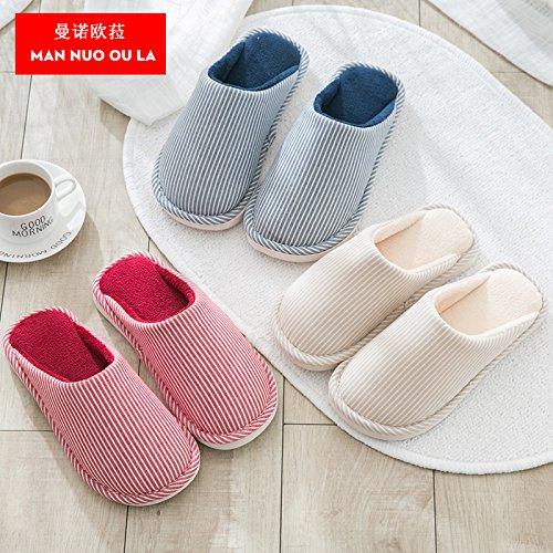 Chaussons en coton dhiver femelle des couples chambre accueil kit avec chaussons dhiver pour hommes cadeaux dortoir hostel mignon, seul 44-45 43-44 pour porter, lapins, Cyan