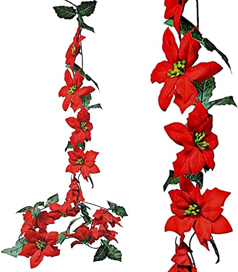 Amazon Com Banberry Designs Poinsettia Flower Garlands Set Of 2 Strands Approx 74 Inches Long Red Poinsettias Christmas Decorations Decorative Floral Accessories Home Kitchen