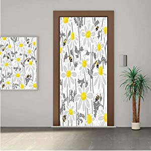 "Grey Decor ONE Piece Door Stickers,Daisy Flowers with Bees in Spring Time Honey Petals Floret Nature Purity Bloom 30x80"" Peel & Stick Removable Wall Mural,Decal,Poster for Door/Wall/Fridge Home Decor"