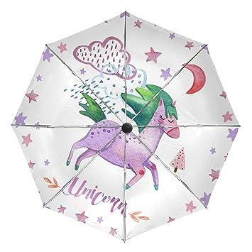MALPLENA - Paraguas automático de Rana de Unicornio para Hombre y Mujer, opción de Regalo