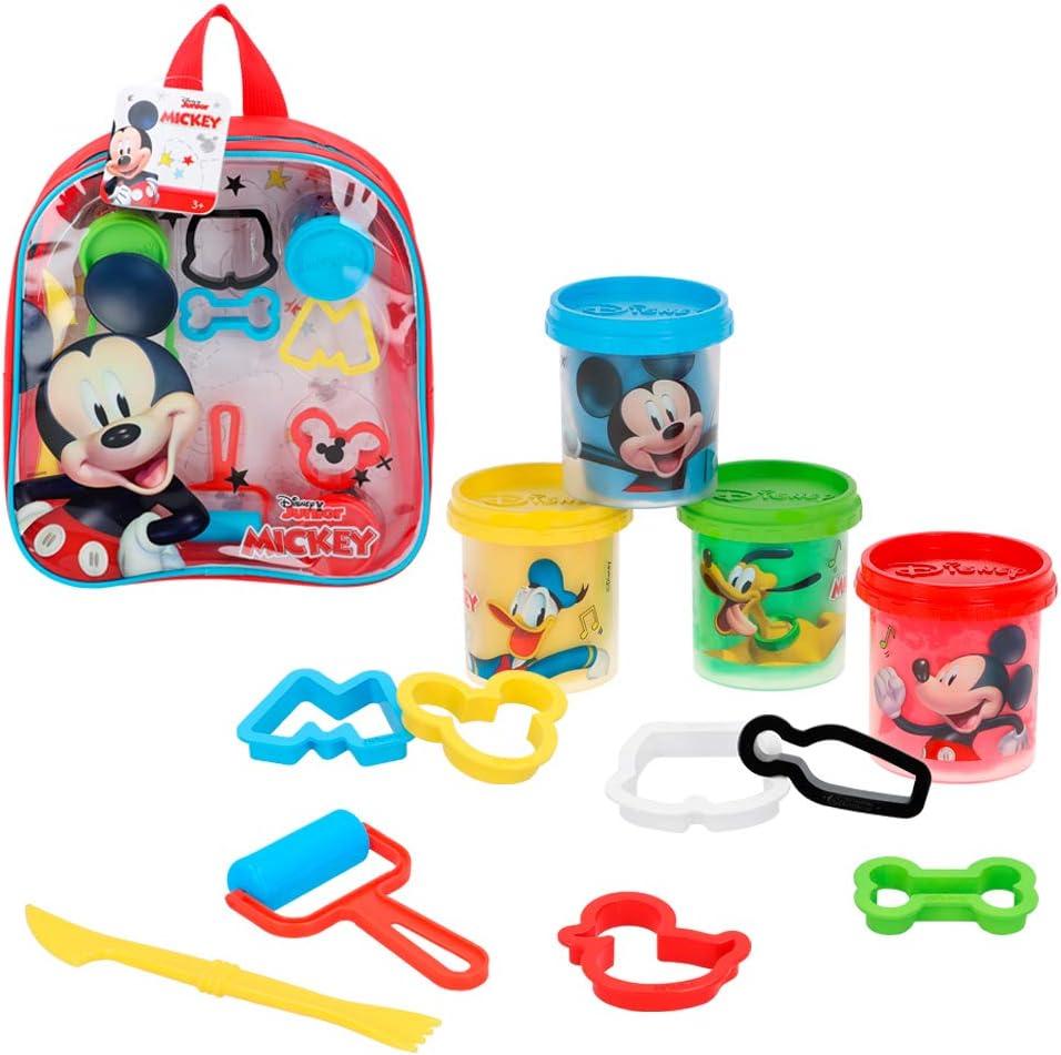 Disney - Kit mochila Mickey con 4 botes plastilina de 57 g con accesorios (77188)