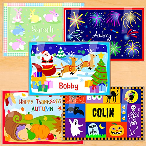 Olive Kids Holiday Assortment Personalized Placemat 5 Pack (Thanksgiving Placemat Personalized)