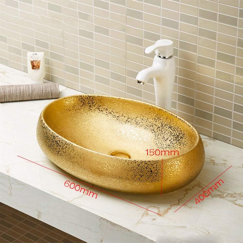 Robinet Non Inclus /Évier ovale comptoir dart Relief Dor C/éramique Salle De Bains Vasque /À Poser Ovale Art Lavabo