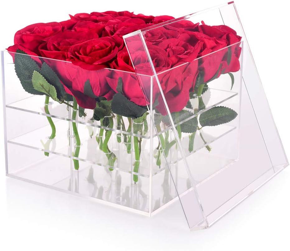 Wefond claro acrílico flor cuadro agua titular jarrón decorativo cuadrado rosa flor de la boda flor caja de regalo maquillaje organizador (16 hoyos)