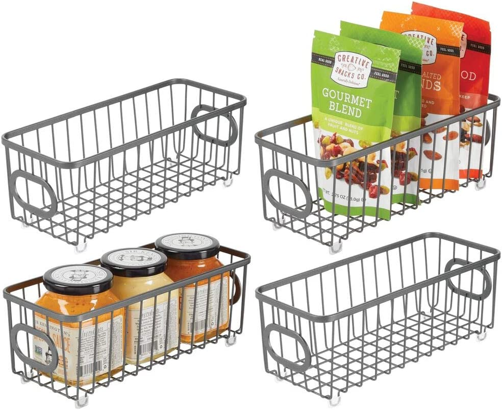 mDesign Metal Farmhouse Kitchen Pantry Food Storage Organizer Basket Bin - Wire Grid Design - for Cabinets, Cupboards, Shelves, Countertops, Closets, Bedroom, Bathroom - Small, 4 Pack - Graphite Gray