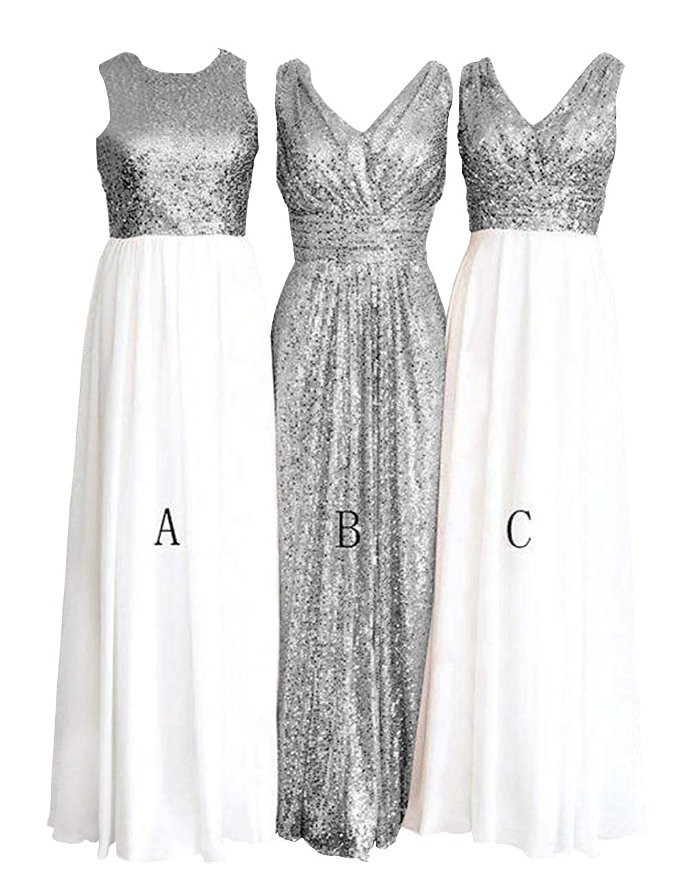 Cwhite and Silver H.S.D Women's pink gold Sequins Paillettes Long Bridesmaid Party Prom Dress
