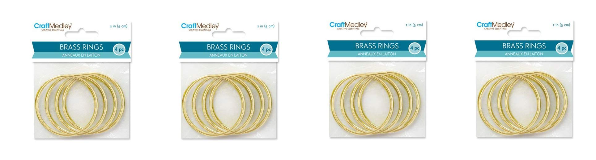 CraftMedley Brass Rings, 2in, Round, 4-Piece, 2 (Fоur Расk)