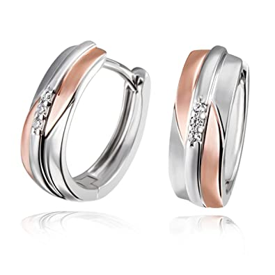 Goldmaid Women's 925 Sterling Silver Hoop Earrings Bicolor Rosegold Plated with two white Zirconia aE5jxdiod
