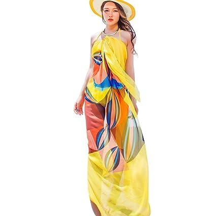 601efd1cc3 Amazon.com  Sexy Women Chiffon Beach Swimwear Sarong Wrap Dress Bikini  Cover Up Scarf (Yellow)  Home   Kitchen