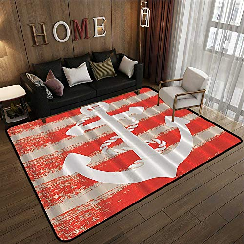- Camping Rugs for Outside,Nautical Maritime,Vintage Seascape Boat Anchor with Rope Stripes Art Print,White and Orange 47