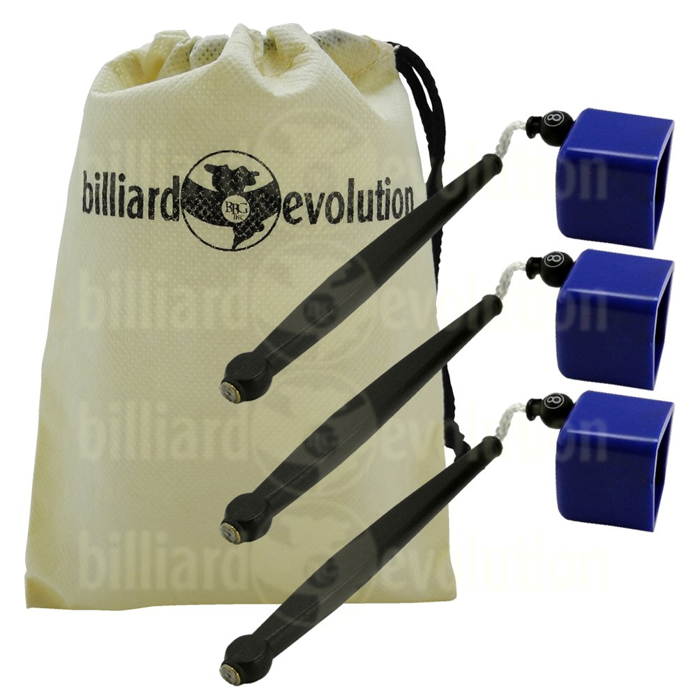 Set of 3 Blue Pocket Chalk Holders with Billiard Evolution Drawstring Bag