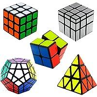 Shengshou Magic Cube Packed 2X2-3x3-Pyraminx Cube-Silver Mirror Cube-Megaminx Cube Set