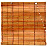 Oriental Furniture Burnt Bamboo Roll Up Blinds - Two-tone Honey - (36 in. x 72 in.)