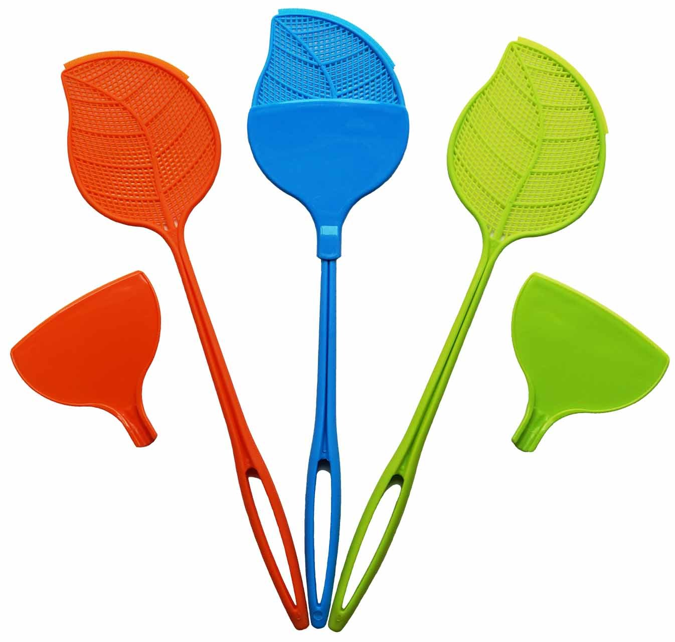 HomeWorthy Swat & Sweep Fly Swatter 3 Pack with Heavy Duty Plastic Handle and Detachable Dust Pans for Sanitary Bug Cleanup