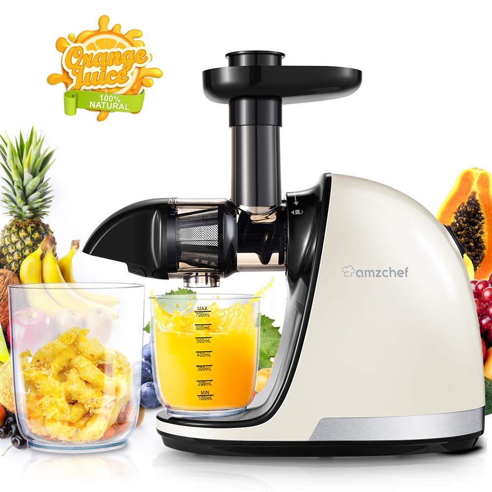 Slow Juicer,AMZCHEF Slow Masticating Juicer Extractor Professional Machine with Quiet Motor Reverse Function,Cold Press Juicer with Brush,for High Nutrient Fruit Vegetable Juice