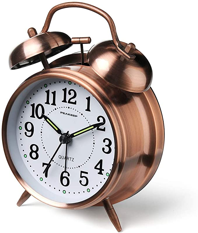 Amazon.com: Peakeep 4 inches Twin Bell Loud Alarm Clock for Heavy Sleepers (Red-Brown): Home & Kitchen