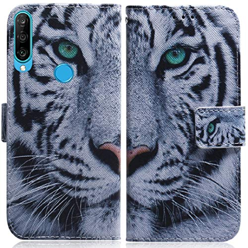 Huawei Nova4 Case, Very Light Slim Art Design Painting Flip Movie Stand Wallet Style, WEIFA Newest Thin Anti-Scratch Tablet Cover Case For Huawei Nova 4 Awe-Inspiring Tiger