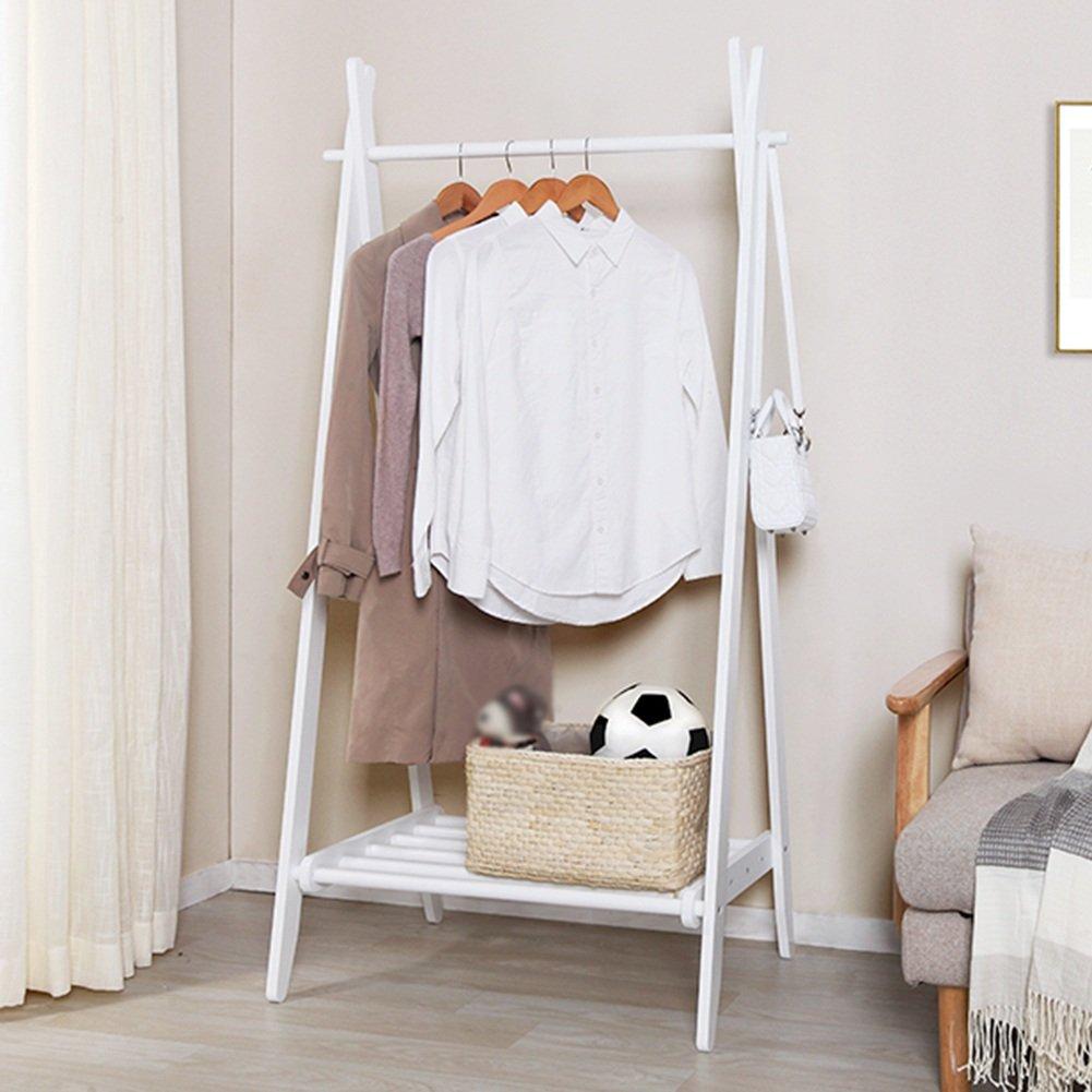 White 55x55x160CM ZEMIN Floor Standing Coat Rack Clothes Hat Stand Hanger Rod Hooks Shelf Solid Wood Simple, 2 colors, 3 (color   White, Size   55x55x160CM)