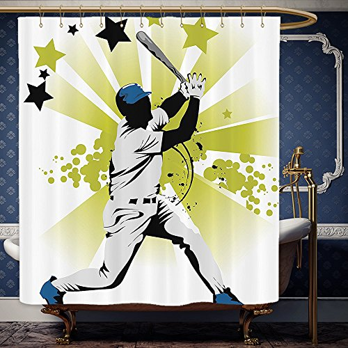Wanranhome Custom-made shower curtain Sports Decor Set Pitcher Hits The Ball Fast Stars All Over The Bat Speed Strong Game Motion Team Graphic White Green For Bathroom Decoration 69 x 90 inches