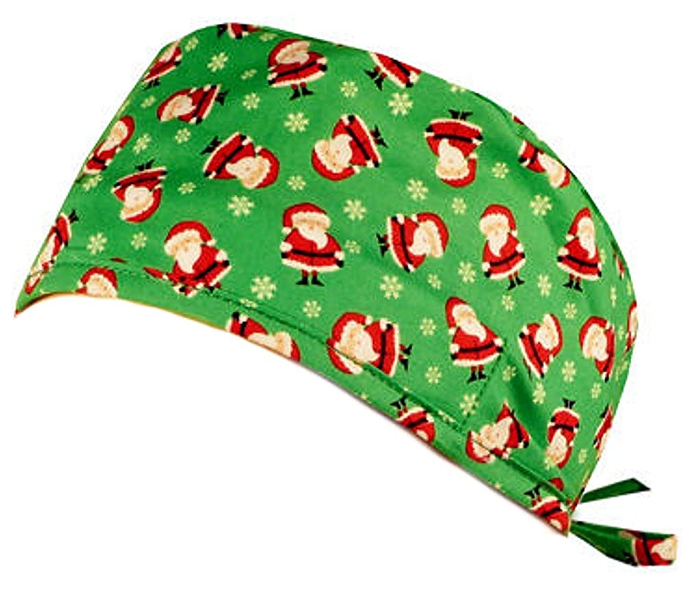 Mens And Womens Medical Scrub Cap Mini Santas On Green