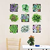 YUMULINN wallpaper stickers Wallpapers murals Wall stickers stickers cartoon personality creative rustic style wall decorations green succulent potted plant pots, 60X90CM