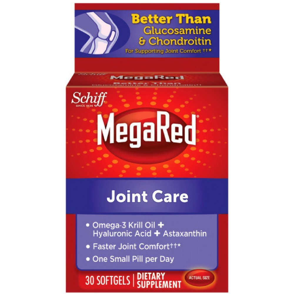 MegaRed Joint Care, 30 softgels - Omega 3 Krill Oil, Hyaluronic Acid and Astaxanthin Supplement (Pack of 4)