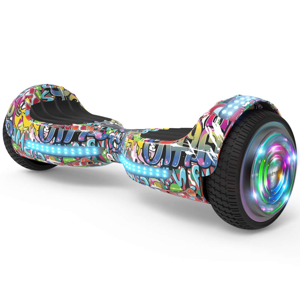 Hoverboard, UL 2272 Certified Flash Wheel 6.5'' Wireless Speaker with LED Light Self Balancing Wheel Electric Scooter (Graffiti)