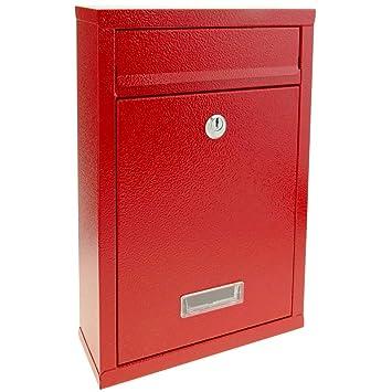 PrimeMatik - Buzón metálico para Cartas y Correo Postal de Color Rojo 235 x 75 x 315 mm