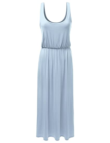 166b88397e26 NINEXIS Women's Gathered Elastic Waistband Drapey Maxi Dress DARKBLUE XL