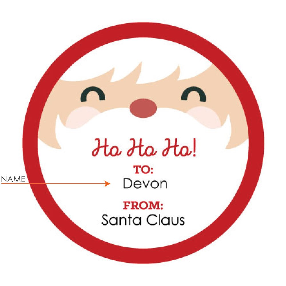 3049cb699 Custom Jolly Santa Claus Face - Personalized Small Circle Christmas Gift  Sticker Tags - to: Name...