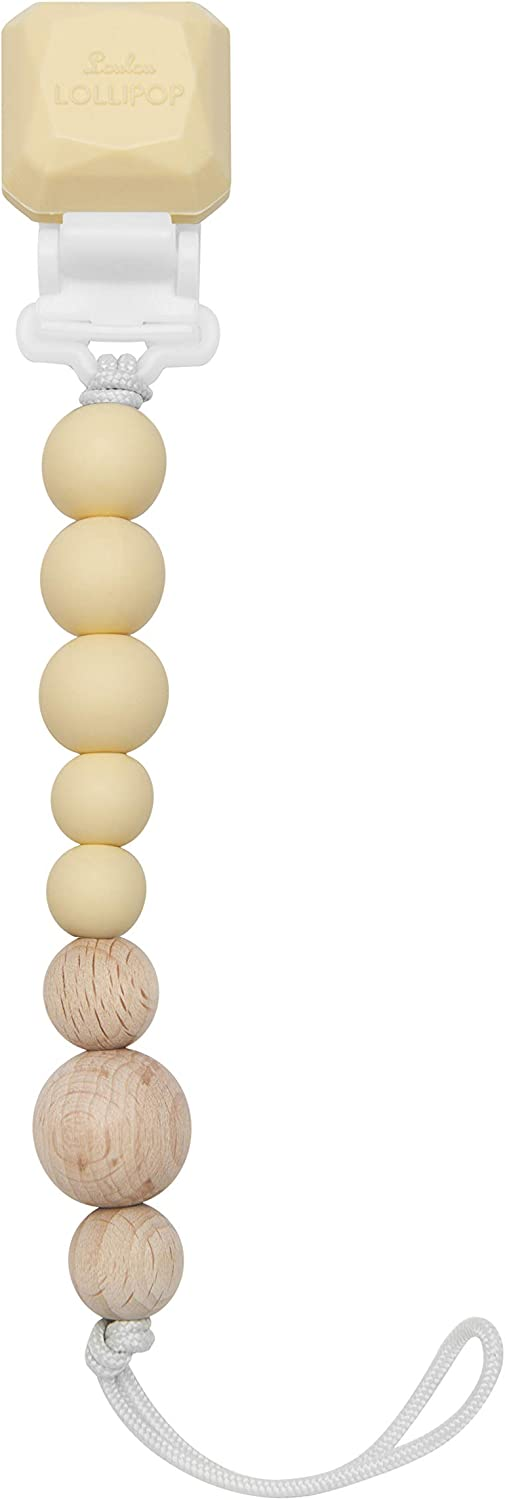 Loulou Lollipop Pacifier Clip and Holder Coconut Cream Premium Silicone /& Wood Beads