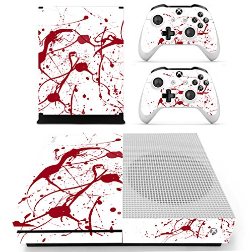 eXtremeRate Blood Full Set Faceplates Skin Stickers for Xbox One S Console Controller with 2 Pcs Console Power Button Decals ()