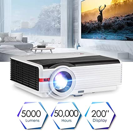 Home Theater Projector Multimedia Projector 5000 Lumens Smart TV Projector Gaming HD Movie Proyector LED LCD Digital Beamer Home Cinema Projector for ...