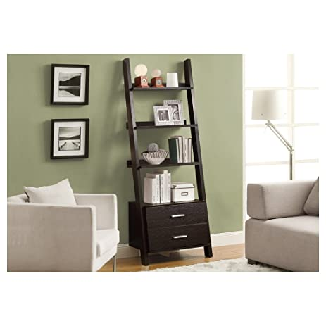 Monarch Specialties I 2542, Bookcase, Ladder With 2 Storage Drawers,  Cappuccino,