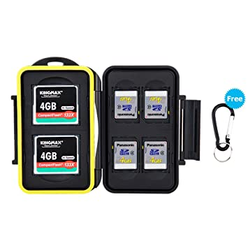 JJC Estuche impermeable para tarjetas de memorias: 4 x tarjetas SD SDHC SDX + 2 x tarjetas Compact Flash CF con mosquetón