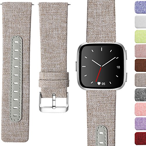 Maledan for Fitbit Versa Bands, Replacement Classic Genuine Leather & Canvas with Stainless Steel Clasp Accessories Wristbands for Versa, Women Men, Small, Grey